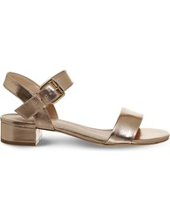 Office Morgan Metallic Block Heel Sandals Rose Gold