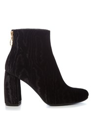 Stella Mccartney Ribbon Curved Heel Velvet Ankle Boots Black