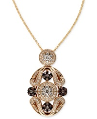 Effy Collection Espresso By Effy Brown 1 3 Ct. T.W. And White Diamond 5 8 Ct. T.W. Ornate Pendant In 14K Gold