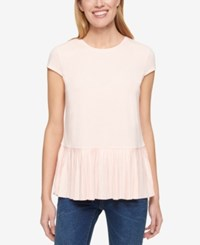 Tommy Hilfiger Cap Sleeve Pleated Hem Top Only At Macy's Ivory