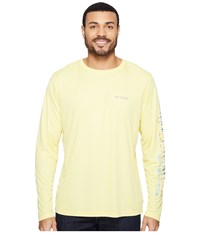 Columbia Terminal Tackle Pfg Long Sleeve Shirt Sunlit Vivid Blue Wahoo Fade Men's Long Sleeve Pullover Yellow