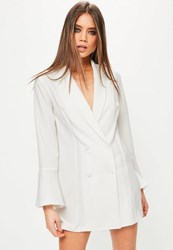 Missguided White Crepe Flared Sleeve Tux Dress