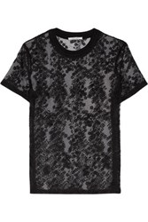 Carven Embroidered Organza Blouse Black