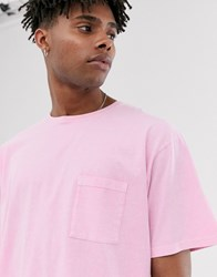 Heart And Dagger T Shirt In Acid Wash Pink
