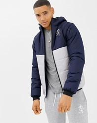 Gym King Hooded Puffer Jacket In Navy Colour Block