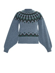 Kolor Fair Isle Intarsia Wool Knit Sweater