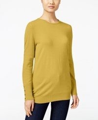 Jm Collection Crew Neck Button Cuff Sweater Only At Macy's Roman Gold