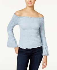 American Rag Smocked Off The Shoulder Top Only At Macy's Washed Blue