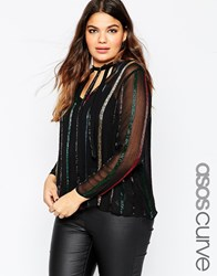 Asos Curve Pussybow Blouse In Sequin Stripe Multi