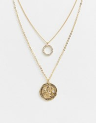 Monki Multi Row Chain Necklace With Hoop And Medallion In Gold