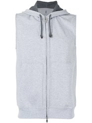 Brunello Cucinelli Sleeveless Zip Up Hoodie Men Cotton Polyamide Xxl Grey
