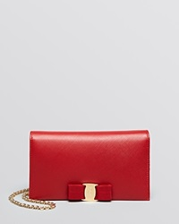 Salvatore Ferragamo Crossbody Miss Vara Bow Tissu Soft Wallet On A Chain Rosso Red Gold