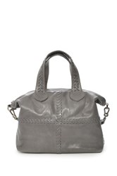 Carla Mancini Soft Square Whipstitched Leather Tote Gray