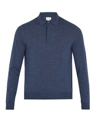 Paul Smith Long Sleeved Fine Knit Wool Polo Shirt Navy