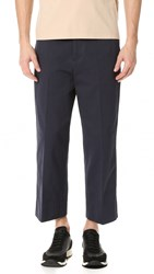 Marni Cropped Cotton Trousers Blue Navy