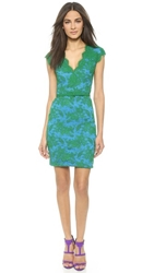 Reem Acra V Neck Lace Dress Green Blue