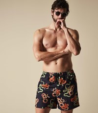 Reiss Viper Printed Swim Shorts In Black