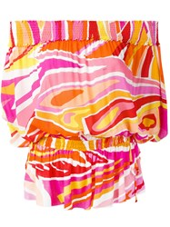 Emilio Pucci Off The Shoulder Printed Top Yellow