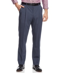 Nautica Pleated Houndstooth Checked Pants Blue