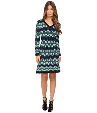 M Missoni Long Sleeve V Neck Ripple Stitch Dress Teal Women's Dress Blue