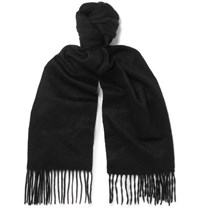 Paul Smith Fringed Cashmere Scarf Black