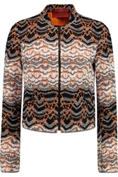 Missoni Cropped Crochet Knit Jacket Orange