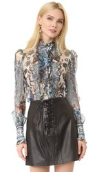 Roberto Cavalli Long Sleeve Blouse Blue