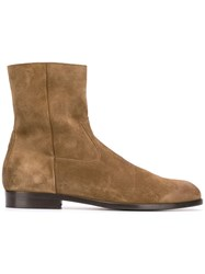 Buttero Side Zip Ankle Boots Brown