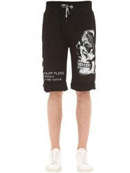 Philipp Plein Print And Embellished Skull Cotton Shorts Array 0X57ee918