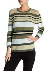 Sag Harbor Long Sleeve Striped Knit Sweater Green