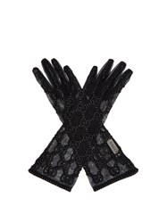 Gucci Gg Motif Lace Gloves Black
