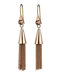Small Rose Gold Plated Chain Tassel Drop Earrings Eddie Borgo