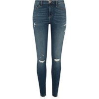 River Island Womens Blue Molly Ripped Skinny Jeggings