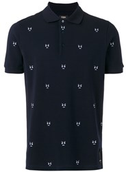 Fendi Embroidered Detail Polo Shirt Blue