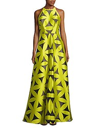 Monique Lhuillier Floral Halterneck Dress Chartreuse