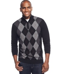 Tasso Elba Big And Tall Quarter Zip Argyle Sweater Only At Macy's Deep Black Combo
