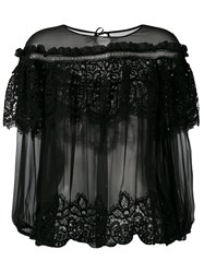 Alberta Ferretti Layered Sheer Blouse Black
