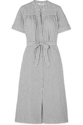 Frame Belted Striped Linen And Cotton Blend Dress Gray