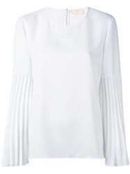 Sara Battaglia Pleated Sleeve Blouse White