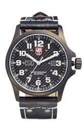 Men's Luminox 'Land Atacama Field' Leather Strap Watch 45Mm Brown Black Gold