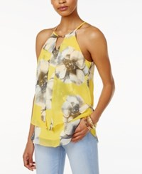 Amy Byer Bcx Juniors' Printed Chiffon Front Top Yellow Floral Print