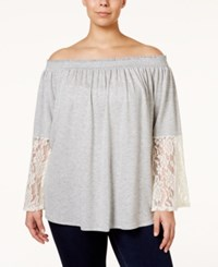 Stoosh Plus Size Lace Sleeve Off The Shoulder Knit Top Grey Ivory