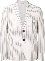 Andrea Pompilio Striped Blazer Men Cotton Viscose 48 Nude Neutrals