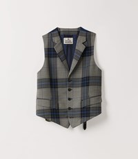 Vivienne Westwood Classic Waistcoat Blue Prince Of Wales Check