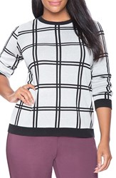 Plus Size Women's Eloquii Windowpane Check Sweater