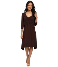 Mod O Doc Cotton Modal Spandex Jersey Braided Trim Empire Seamed V Neck Dress Cocoa Women's Dress Brown