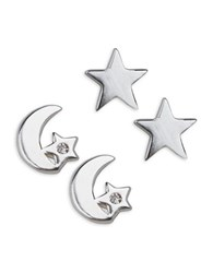 Lord And Taylor Sterling Silver Moon Star Earrings Set
