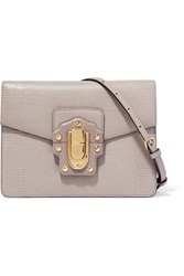 Dolce And Gabbana Lucia Lizard Effect Leather Shoulder Bag Gray