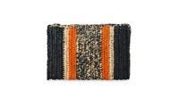 Whistles Pico Stripe Straw Clutch Orange Multi
