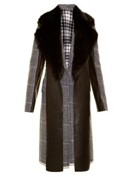 Calvin Klein Leather Panel Checked Wool Coat Grey Multi
